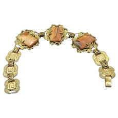 Vintage Art Deco Faceted Agate Gemstone Bracelet, Geometric Shape, Ornate Links!