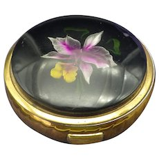 Vintage Reverse Carved Lucite Compact, Orchid Flower!