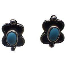 Vintage Navajo, Native American Crafted Sleeping Beauty Turquoise Sterling Earrings!