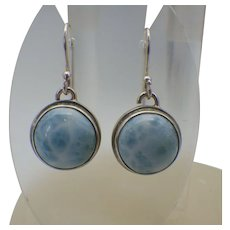 Vintage Sterling and Larimar Gemstone Pierced Earrings, Caribbean Treasure!