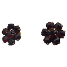 14k Gold, Bohemian Garnet Pierced Stud Earrings, Excellent!