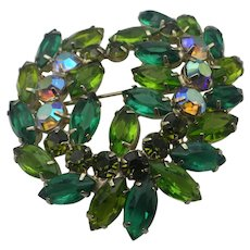 Vintage DeLizza and Elster Manufactured Wreath Brooch, Shades of Green!
