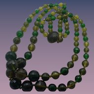 Vintage Lucite Faceted Bead Double Strand Necklace!