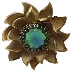 Vintage 1960s Golden Blossom Brooch, Aqua Blue Centerpiece Stone, Faceted!