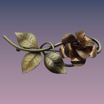 Vintage Designer Signed Two Tone Gold Filled Rose Brooch, 1940s, Signed Diana