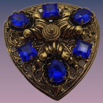 Vintage Czech Shield Brooch, Bright Blue Stones, 1930s!