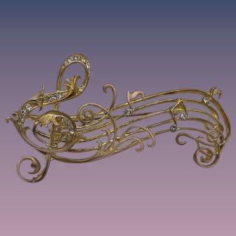 Vintage Musical Motif Brooch, Rhinestone Accents!