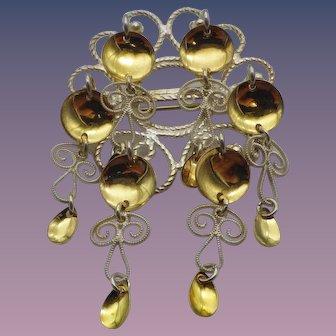 Vintage Norwegian Wedding Jewelry, Sterling Gold Solje!