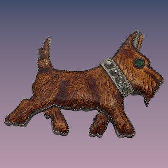 1930s Vintage Enamel Scottie Dog Pin, Art Deco Era!