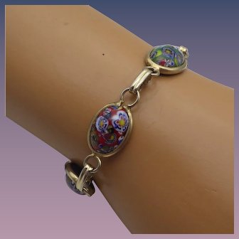Vintage Millifiore Glass Bracelet with Safety, Italian Blown Glass, 1950s!