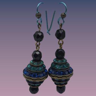 Vintage Rhinestone Pierced Earrings, Niobium Ear Wires!