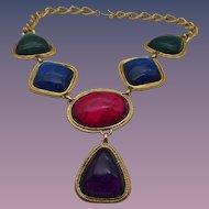 Vintage Kenneth J Lane Jewel Tone Necklace, Excellent!