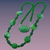 Early Century Czech Art Glass Necklace, 1920s, Art Nouveau!