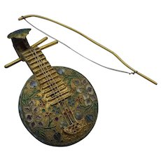 Vintage Chinese Cloisonne String Musical Instrument Figurine with Bow