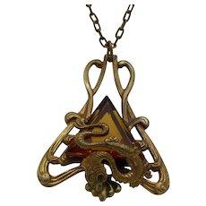 Art Deco 1930s Pendant Necklace, Topaz Color Stone, Fancy Chain!