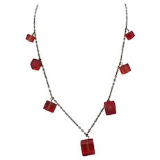 Art Deco Lucite Necklace, Red Square Beads, 1930s!
