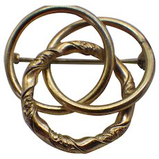 Victorian Revival Love Knot Brooch, Rolled Gold, Etched Design!
