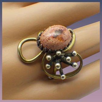 Vintage Modernist Artist Crafted Bronze Ring, Opal Stone!