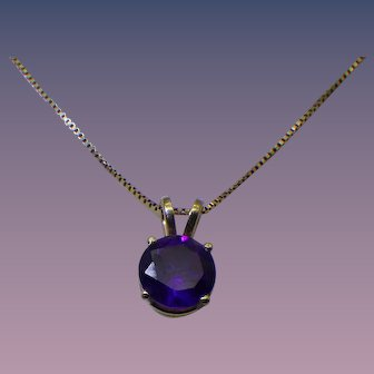 Vintage 14k Gold Amethyst Pendant Necklace, One Carat Stone!