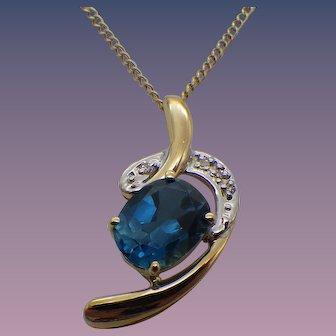 14k Gold, London Blue Topaz Gemstone Pendant Necklace, 14k Gold Chain, 1960s