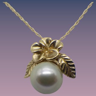 Vintage 10k Gold Pendant, Cultured Pearl, 10k Chain, 1960s!