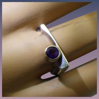 Vintage Modernist Artist Crafted Sterling, Gold and Amethyst Gemstone Ring, Asymmetrical Design!
