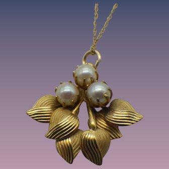 Vintage Cultured Pearl Pendant Necklace, 1940s, 12k Gold Filled!