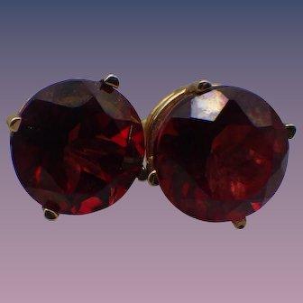 Vintage 14k Yellow Gold, Red Rhodolite Garnet Gemstone Post Earrings!