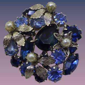 Vintage 1940s Rhinestone Brooch,  Pendant Shades of Blue!