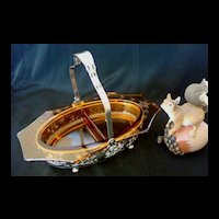 Eight Sided Amber Glass Relish Basket
