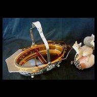 Eight Sided Amber Glass Relish Basket