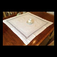 Antique  French Monogrammed Embroidered Drawnwork Tea Cloth
