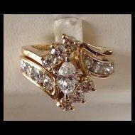 14K Gold Marquis Diamond Wedding Set
