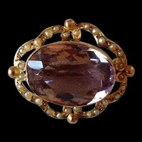 Victorian Amethyst and Seed Pearl Brooch/Pendant
