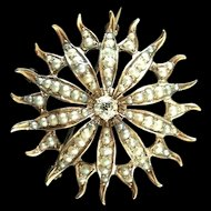 14kt Gold Antique Victorian European cut Diamond and Seed Pearl Sunburst Brooch/Pendant