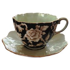 Paragon Tea Set Black White Rose with Queen Mary Warrant