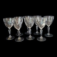 Eight Vintage Claret Glasses
