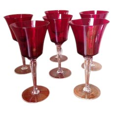 Six Ruby Red Wine Goblets