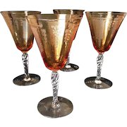 """Two Fostoria """"Beverly"""" Etched Crystal Amber Water Goblets"""