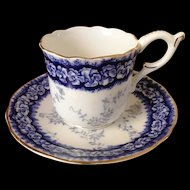 Coalport Cobalt Blue English Demitasse Cup and Saucer