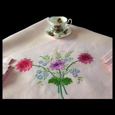 Hand Embroidered Tablecloth with Eight Napkins