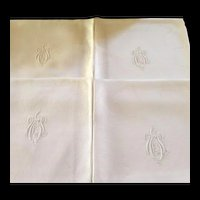 Antique French Monogrammed Napkins