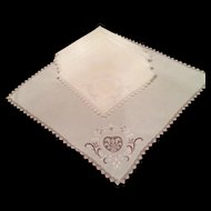 Set of Six Vintage Napkins Italian Embroidered Needlelace