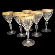 6 Czech (Moser) Engraved Gold Rimmed Wine Glasses
