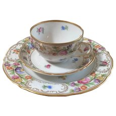 Demitasse Trio Empress Dresden Flowers