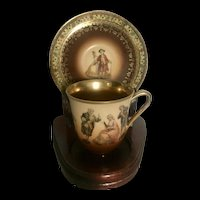 Carlsbad Friedrich Simon Hand Painted Demitasse Cup and Saucer