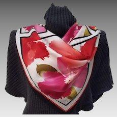 Red & Orange Geometric Floral Silk Scarf, signed Oscar