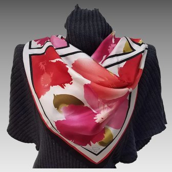 Red & Orange Geometric Floral Silk Scarf, signed Oscar