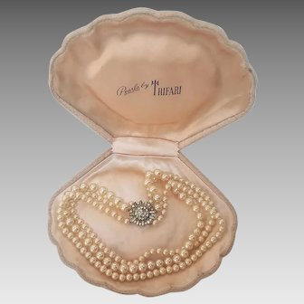 Crown Trifari 3-Strand Simulated Pearls in Original Clamshell Box