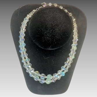 Vintage Austrian Crystal AB Two-Strand Bead Necklace